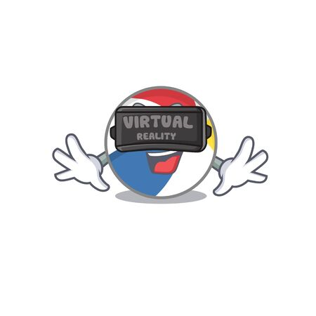 A Picture of beach ball character wearing Virtual reality headset