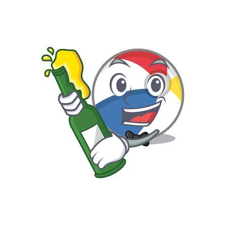 mascot cartoon design of beach ball with bottle of beer Illusztráció