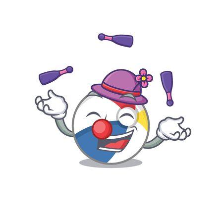 a lively beach ball cartoon character design playing Juggling Ilustração