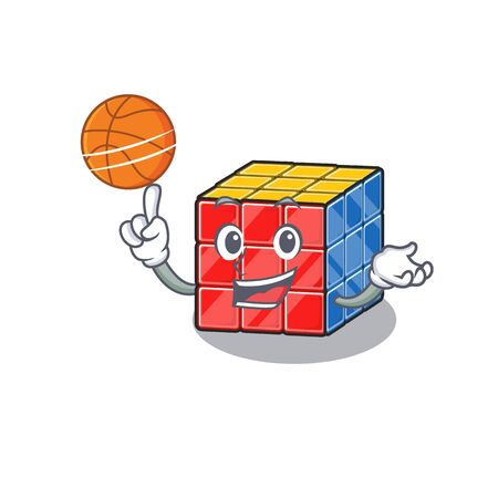A mascot picture of rubic cube cartoon character playing basketball. Vector illustration