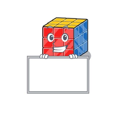 Rubic cube cartoon design concept grinning with board. Vector illustration Vetores