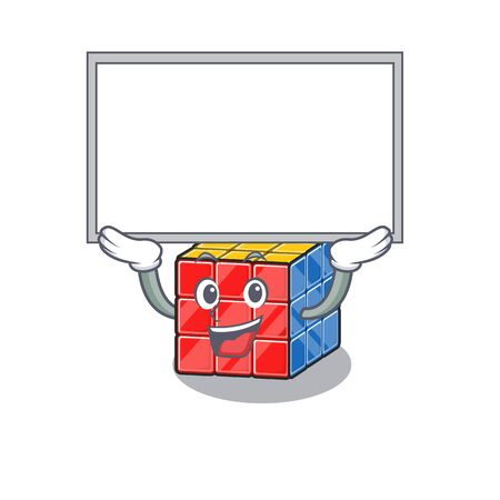 A rubic cube mascot picture raised up board. Vector illustration