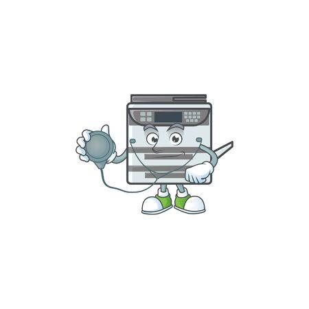 Professional office copier mascot icon design as a Doctor working costume with tools