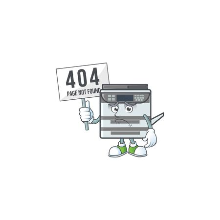 cheerless face professional office copier mascot style design raised up a board Çizim