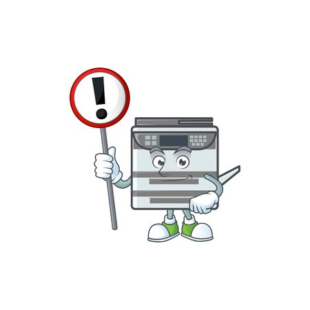 Cartoon character design of professional office copier rise up a sign