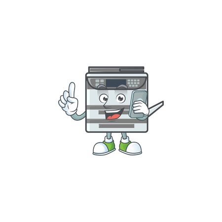 A picture of happy professional office copier speaking on the phone. Vector illustration