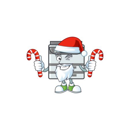 cartoon mascot style of professional office copier in Santa costume with candy