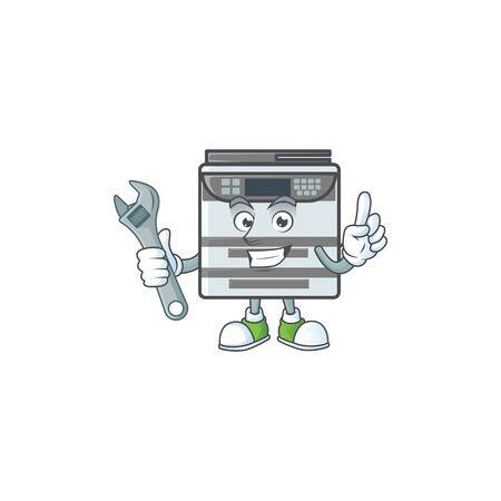 happily Mechanic professional office copier cartoon character design
