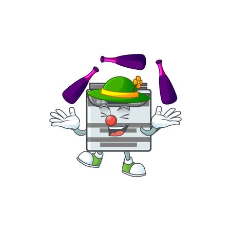 Smart professional office copier cartoon character style playing Juggling