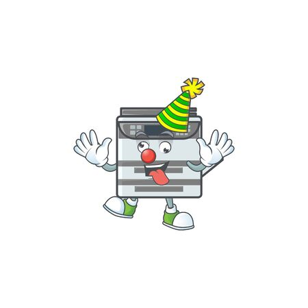 Cute and funny Clown professional office copier cartoon character mascot style