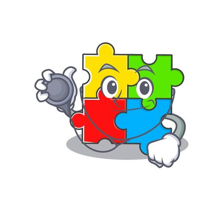 A mascot picture of puzzle toy cartoon as a Doctor with tools. Vector illustration Иллюстрация