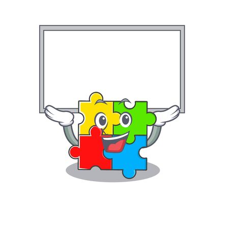 A puzzle toy mascot picture raised up board. Vector illustration