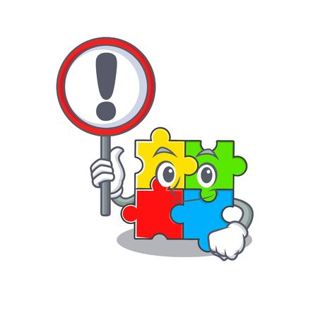 cute mascot character style of puzzle toy raised up a sign. Vector illustration
