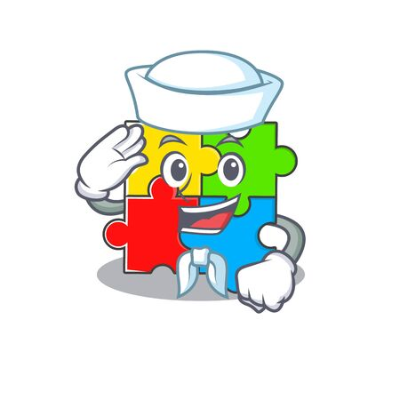 Puzzle toy cartoon concept Sailor wearing hat. Vector illustration