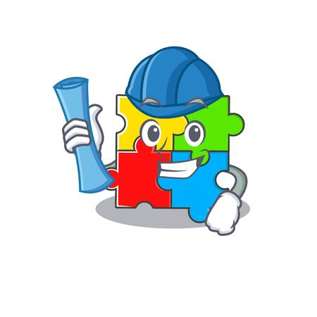 A success of puzzle toy Architect having blue prints and blue helmet. Vector illustration