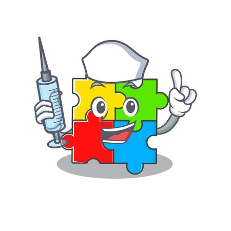 A puzzle toy hospitable Nurse character with a syringe. Vector illustration Çizim