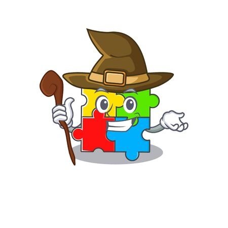 a mascot concept of puzzle toy performed as a witch. Vector illustration