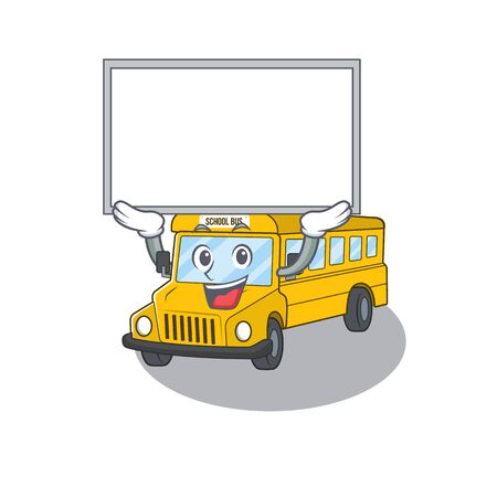 A school bus mascot picture raised up board. Vector illustration