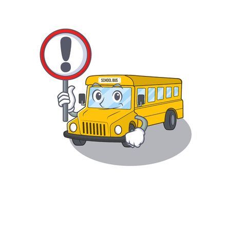 cute mascot character style of school bus raised up a sign. Vector illustration