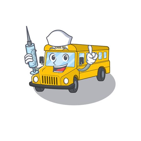 A school bus hospitable Nurse character with a syringe. Vector illustration