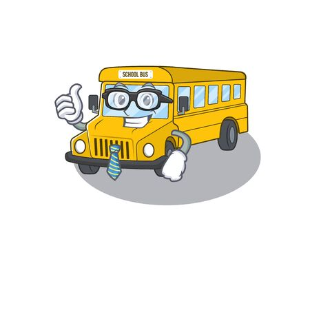 cool and smart Businessman school bus wearing glasses. Vector illustration Illustration
