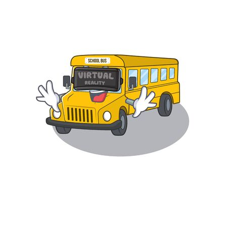 A Picture of school bus character wearing Virtual reality headset. Vector illustration