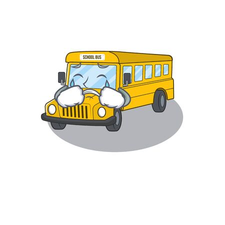 School bus cartoon character concept with a sad face. Vector illustration