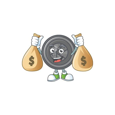 A cute image of camera lens cartoon character holding money bags