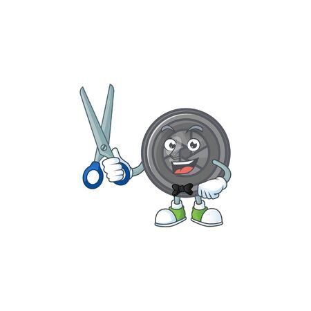 Happy smiling barber camera lens mascot design style
