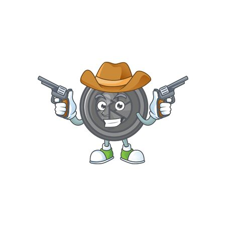 The brave of camera lens Cowboy cartoon character holding guns Ilustrace