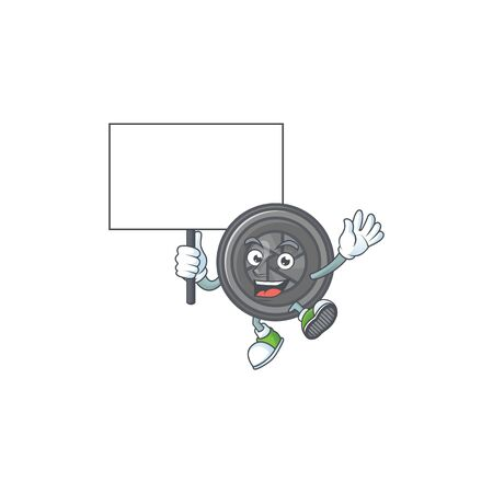 A picture of camera lens cartoon character with board