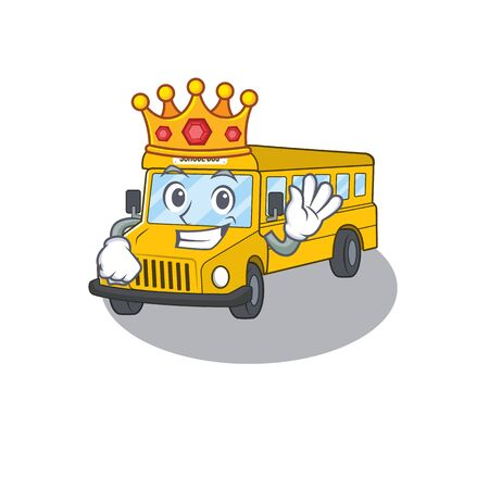 A cartoon mascot design of school bus performed as a King on the stage. Vector illustration