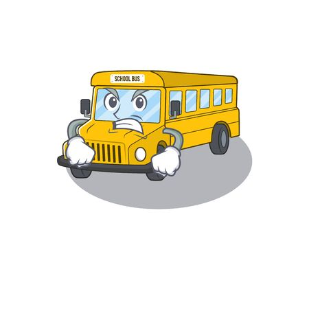 School bus cartoon character style having angry face. Vector illustration