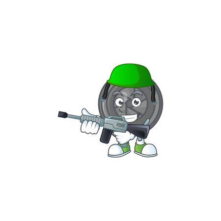 Camera lens mascot design in an Army uniform with machine gun