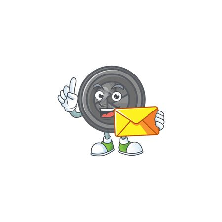 Happily camera lens mascot design style with envelope