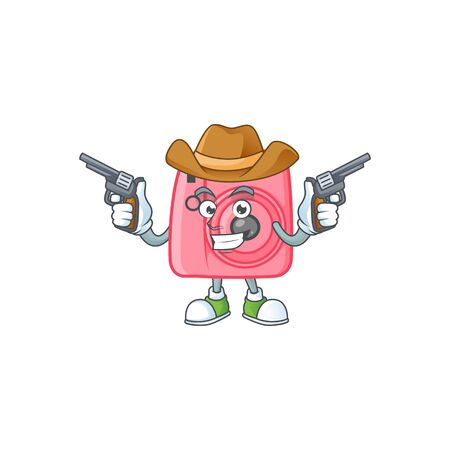 The brave of instant camera Cowboy cartoon character holding guns