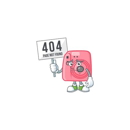 cheerless face instant camera mascot style design raised up a board