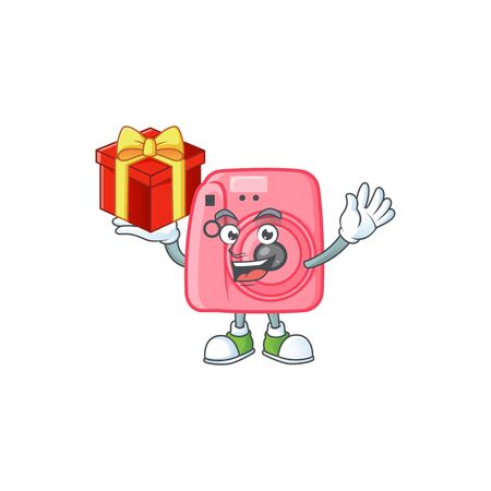 cartoon character of instant camera with a box of gift
