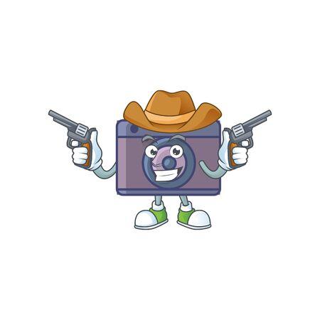 The brave of retro camera Cowboy cartoon character holding guns