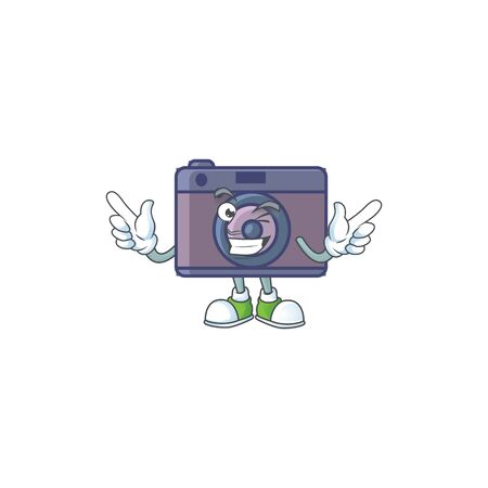 A comical face retro camera mascot design with Wink eye