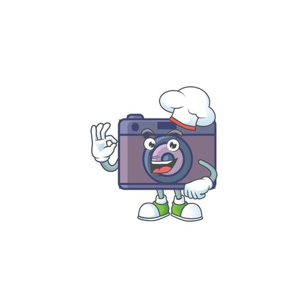 Retro camera cartoon character in a chef dress and white hat