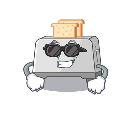 Super cool bread toaster character wearing black glasses. Vector illustration
