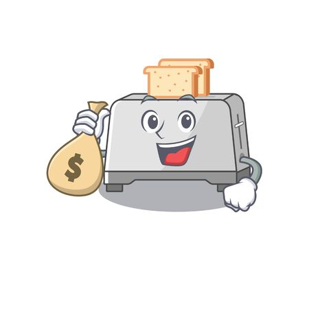 Rich and famous bread toaster cartoon character holding money bag. Vector illustration