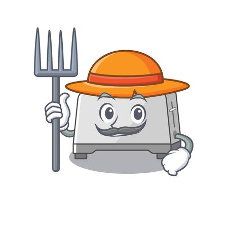 Happy Farmer bread toaster cartoon picture with hat and tools