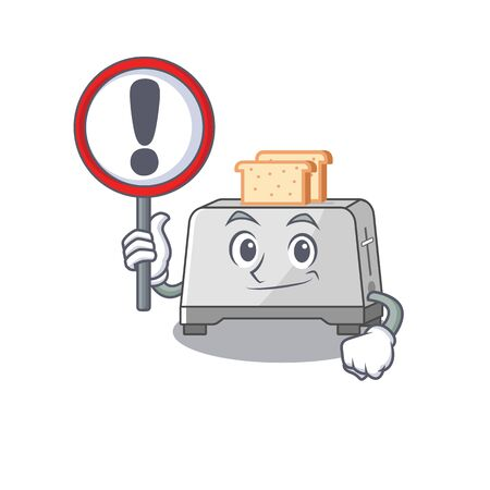 cute mascot character style of bread toaster raised up a sign