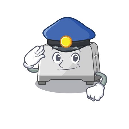 A manly bread toaster Cartoon concept working as a Police officer Illustration