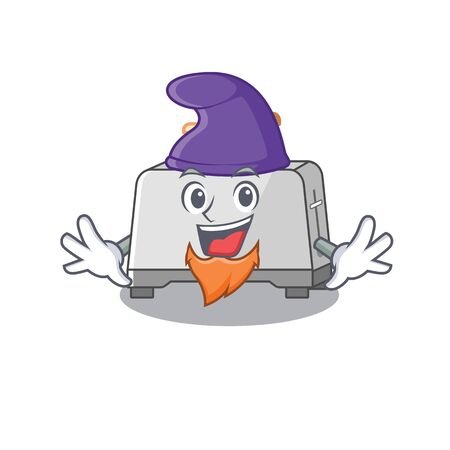 cartoon mascot of funny bread toaster dressed as an Elf