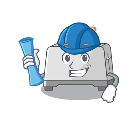 A success of bread toaster Architect having blue prints and blue helmet