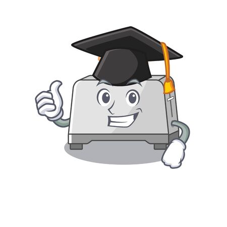 happy and proud of bread toaster wearing a black Graduation hat