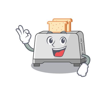 A funny picture of bread toaster making an Okay gesture. Vector illustration